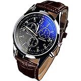 KIOP Men's Luxury Fashion Faux Leather Mens Blue Ray Glass Quartz Analog Watches