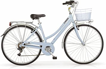 6 velocidades tama/ño 46 Cuadro de Aluminio Cesta incluida Siete Colores Disponibles MBM Bicicleta Central para Mujeres 28