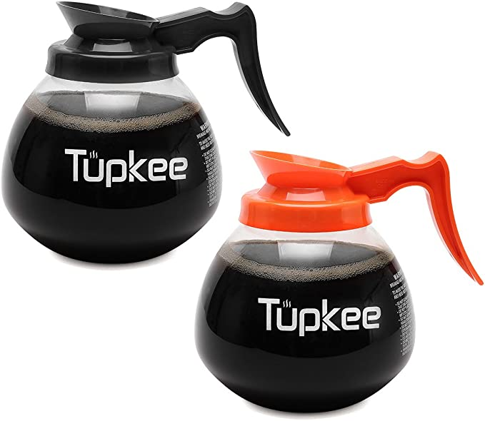 Tupkee Glass Replacement Coffee Pot - SHATTER-RESISTANT Commercial Restaurant Decanter Carafe - 64 oz 12 Cup Set of 2-1 Black and 1 Orange Decaf, Compatible with Wilbur Curtis, Bloomfield, Bunn Pot