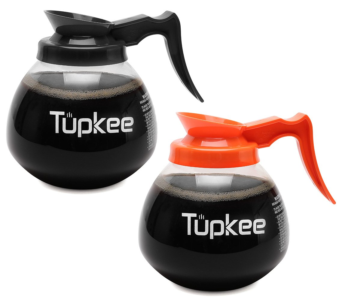 Tupkee Glass Replacement Coffee Pot - SHATTER-RESISTANT Commercial Restaurant Decanter Carafe - 64 oz 12 Cup Set of 2-1 Black and 1 Orange Decaf, Compatible with Wilbur Curtis, Bloomfield, Bunn Pot by Tupkee