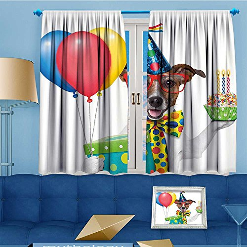 Mikihome Kids Room Planets Curtains (2 Panels), Waiter Server Party Dog Hat Cone Cupcake Balloons Boxes Thermal Insulated Blackout Curtains Star Prints, 72