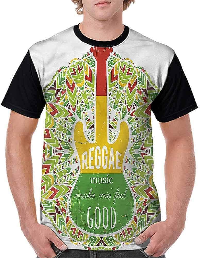 Round Neck T-Shirt,Reggae Music Icon Guitar Fashion Personality Customization