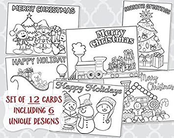 christmas coloring greeting cards holiday greetings printed assorted 12 folding - Coloring Christmas Cards