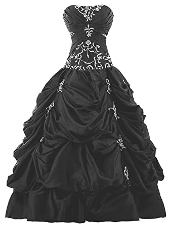 Vantexi Womens Strapless Silver Embroidery Prom Gown Pick Up