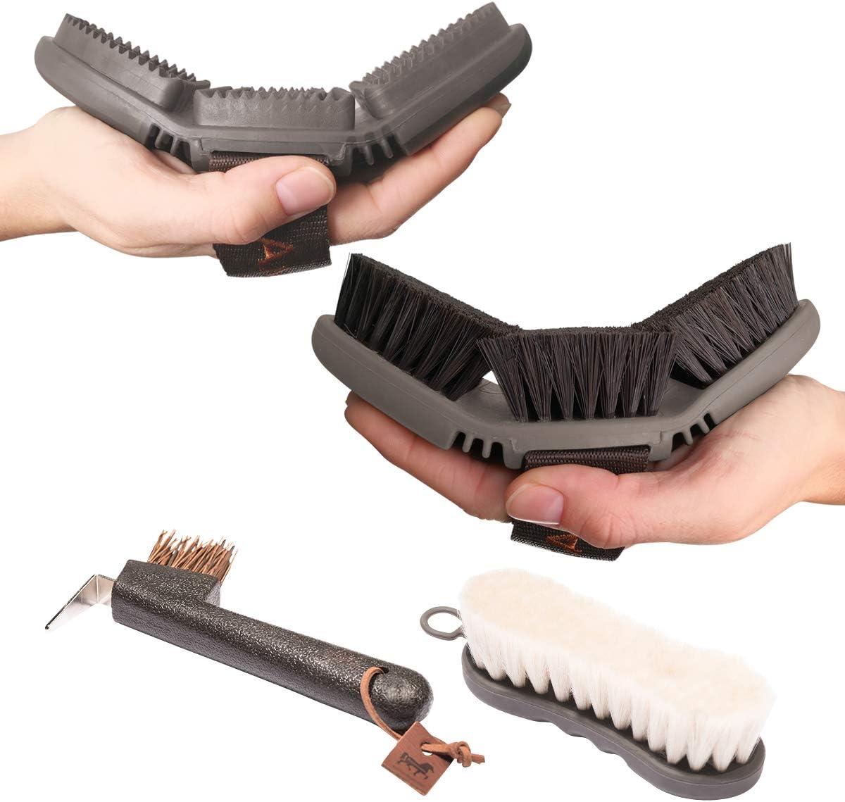 Set básico de limpieza Animalon | Cepillos para el cuidado y aseo de caballos | Comodidad para el caballo | Utensilio flexible y ergonómico para cada cepillado