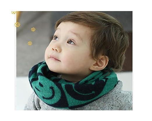 Winter Warm Smiling Face Woven Knit Crochet Long Loop Muffler For Baby