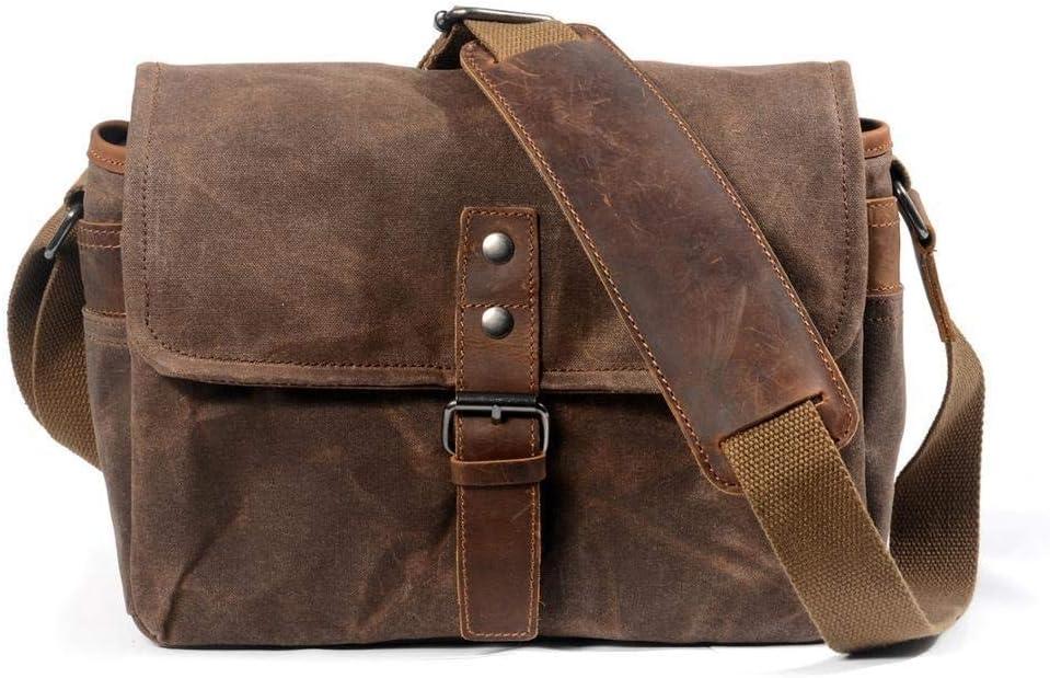 Color : Gray, Size : S HAIMEI-US Outside Camera Bag Digital SLR Professional Raincoat Oil Wax Canvas Camera Bag Micro Shoulder Bag Fashion Backpack