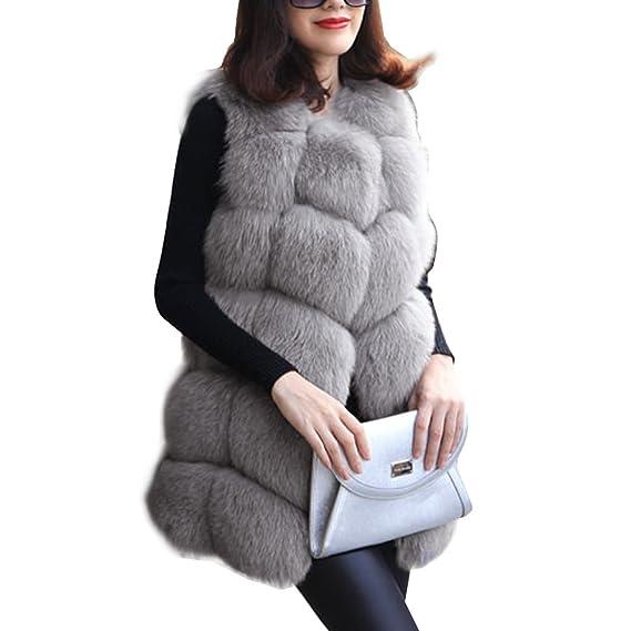 bee9a8f60b9ec8 BAINASIQI Femmes Manteau Sans Manche Chaud Outwear Long Mince Gilet Faux  Fourrure De Renard Élégant Veste