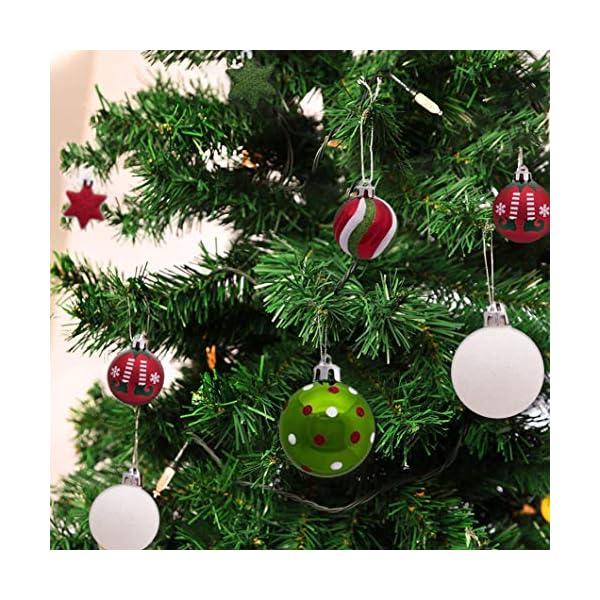 Sunshine smile Decorazioni Albero di Natale,Palle di Natale in plastica,Palline di Natale,Palline di Natale,Palline di Natale Decorazioni,Plastic Palline (Rosso Bianco Verde) 6 spesavip
