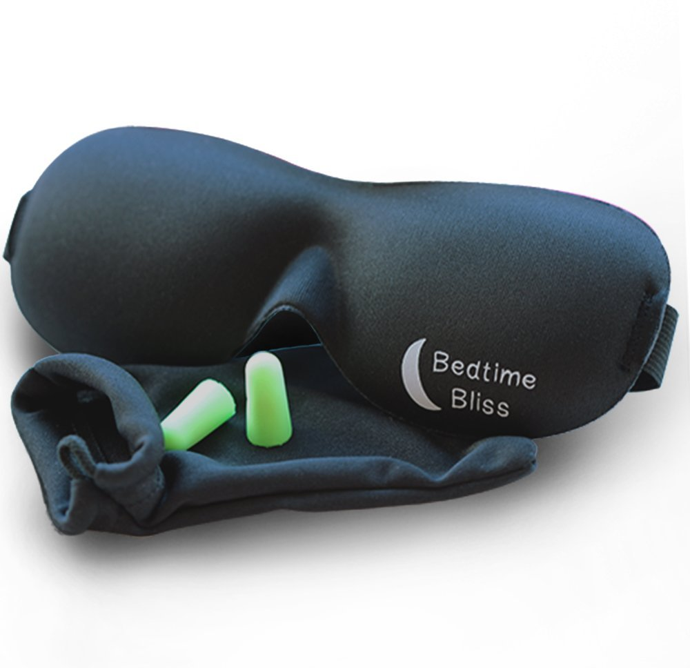 Sleep Mask by Bedtime Bliss® - Contoured & Comfortable With Moldex® Ear Plug Set. Includes Carry Pouch for Eye Mask and Ear Plugs - Great for Travel, Shift Work & Meditation (Black)