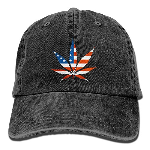 Baseball Cap Marijuana Leaf American Flag - Adjustable Trucker Hat Cotton Denim, DanLive Marijuana Leaf American Flag
