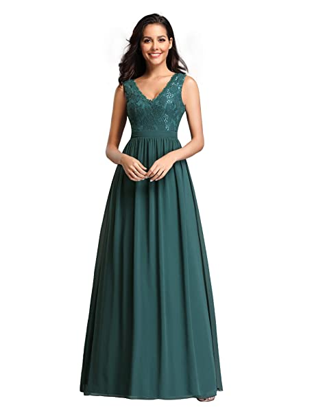 Ever Pretty Womens Double V Neck Floral Lace Bridesmaid Dress 07577