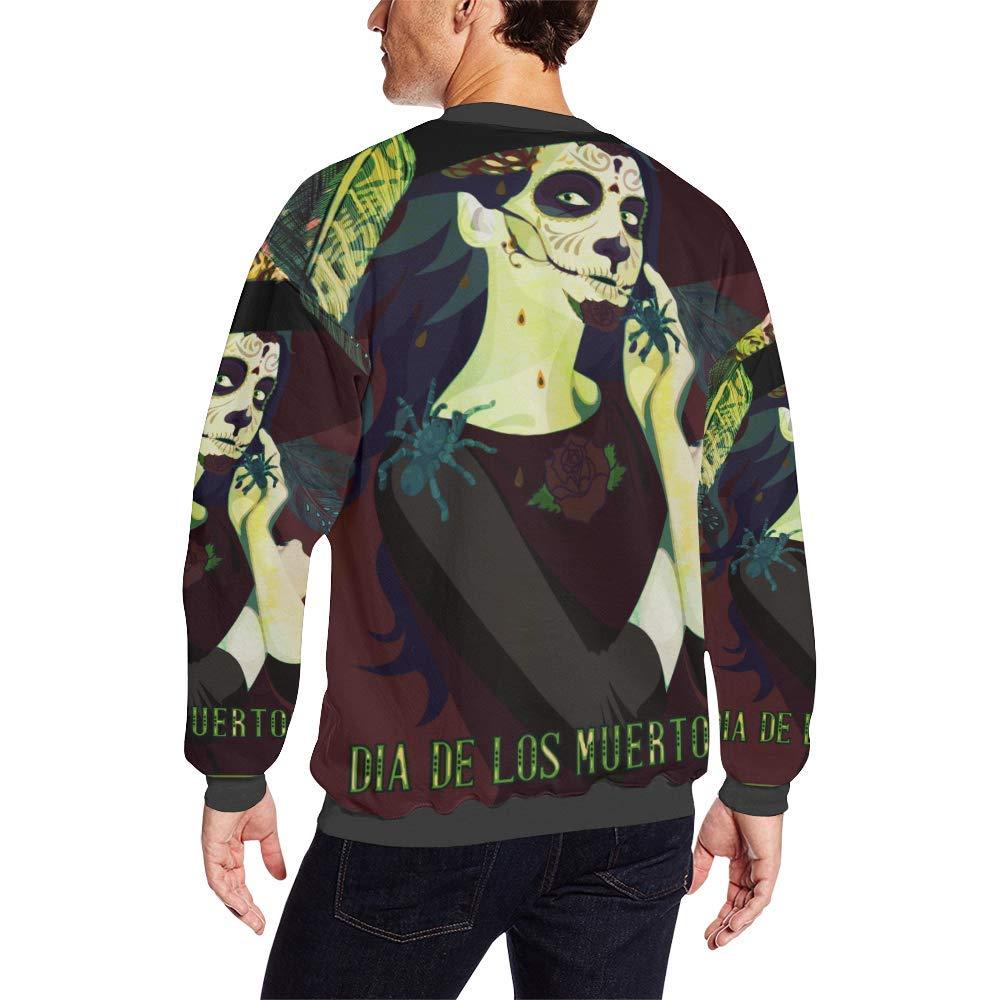 Sugar Skull Dia De Los Muertos Mens Fuzzy Pullover Sweatshirt