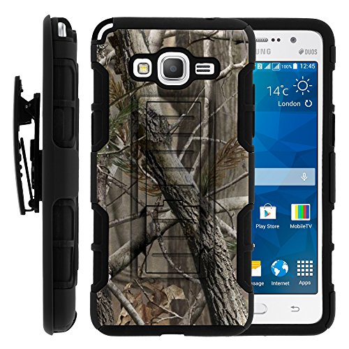Galaxy Grand Prime Case, Galaxy Grand Prime Holster, High Impact Advanced Double Layered Hard Cover with Built in Kickstand and Belt Clip for Samsung Galaxy Grand Prime SM-G530H, SM-G530F (Cricket) from MINITURTLE | Includes Screen Protector - Nature's Camouflage