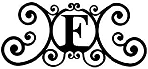 SIGMALL 24 Inch House Plaque Letter - Wrought Iron Metal Scrolled Monogram Initial Letter Home Door Wall Hanging Art Decor Family Name Last Name Letter Sign (F, 24 x 11 inches,Thick 0.039 inch (1mm))