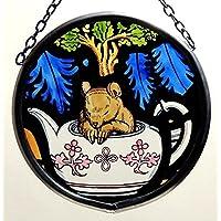 Decorativa pintada a mano Vidriera Mountain/colada en un