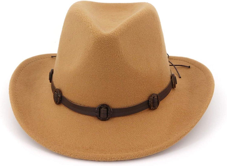 Western Cowboy Hats Handmade Belt Decor Men Women Roll Brim Carnival Hat Unisex