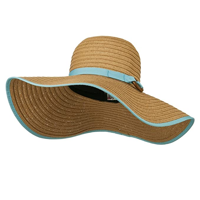 dc8644b220a8d Image Unavailable. Image not available for. Color  Big Floppy Hat with Coconut  Ring Band - Blue OSFM