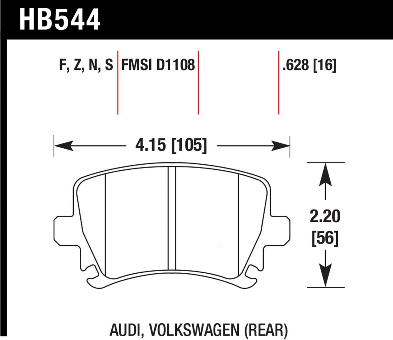 Hawk High Performance Street HPS 5.0 Disc Brake Pads HB544B.628