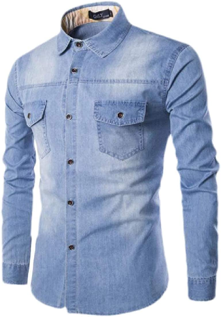 Britainlotus Mens Fashion Casual Dress Shirt Button Down Shirts Long-Sleeve Cotton Denim Shirt