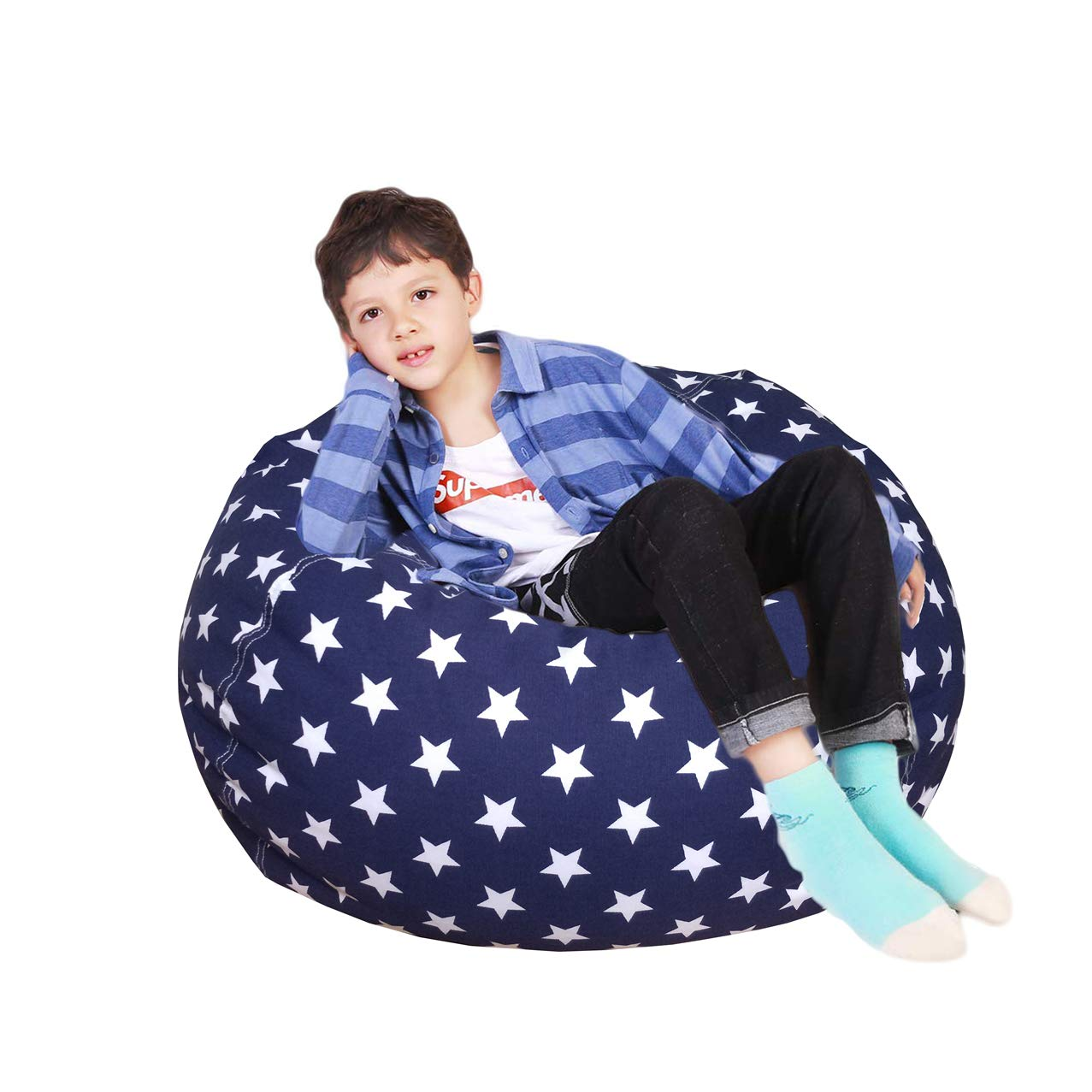 Lukeight Stuffed Animal Storage Bean Bag Chair, Bean Bag Cover for Organizing Kid s Room – Fits a Lot of Stuffed Animals, X-Large Stars Navy