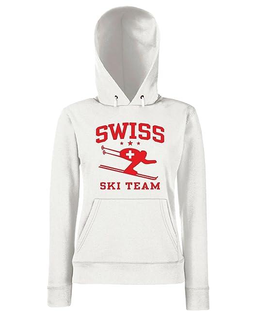 T-Shirtshock - Sudadera hoodie para las mujeras OLDENG00261 swiss ski team, Talla L: Amazon.es: Ropa y accesorios