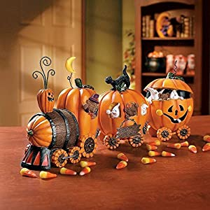 Pumpkin Express Train for Halloween Decorations – Fall Home Decor Table Top Figurines