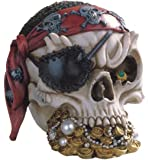 StealStreet SS-G-44015 Pirate Skull Head With Treasure Collectible Figurine Statue Decoration