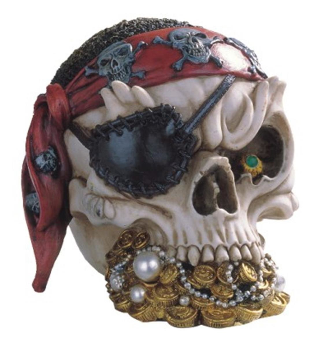 Pirate Skull Head With Treasure Collectible Figurine Statue Decoration