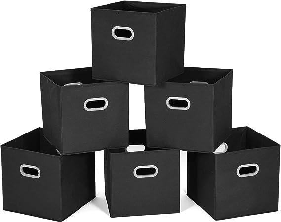 MaidMAX Cubos de Almacenaje de Tela, Set de 6 Cajas de Almacenaje de Tela, Cajas de Ordenación y Almacenamiento para Casa, Oficina, Guardería, Negro, 30,5 x 30,5 x 30,5 cm: Amazon.es: Hogar