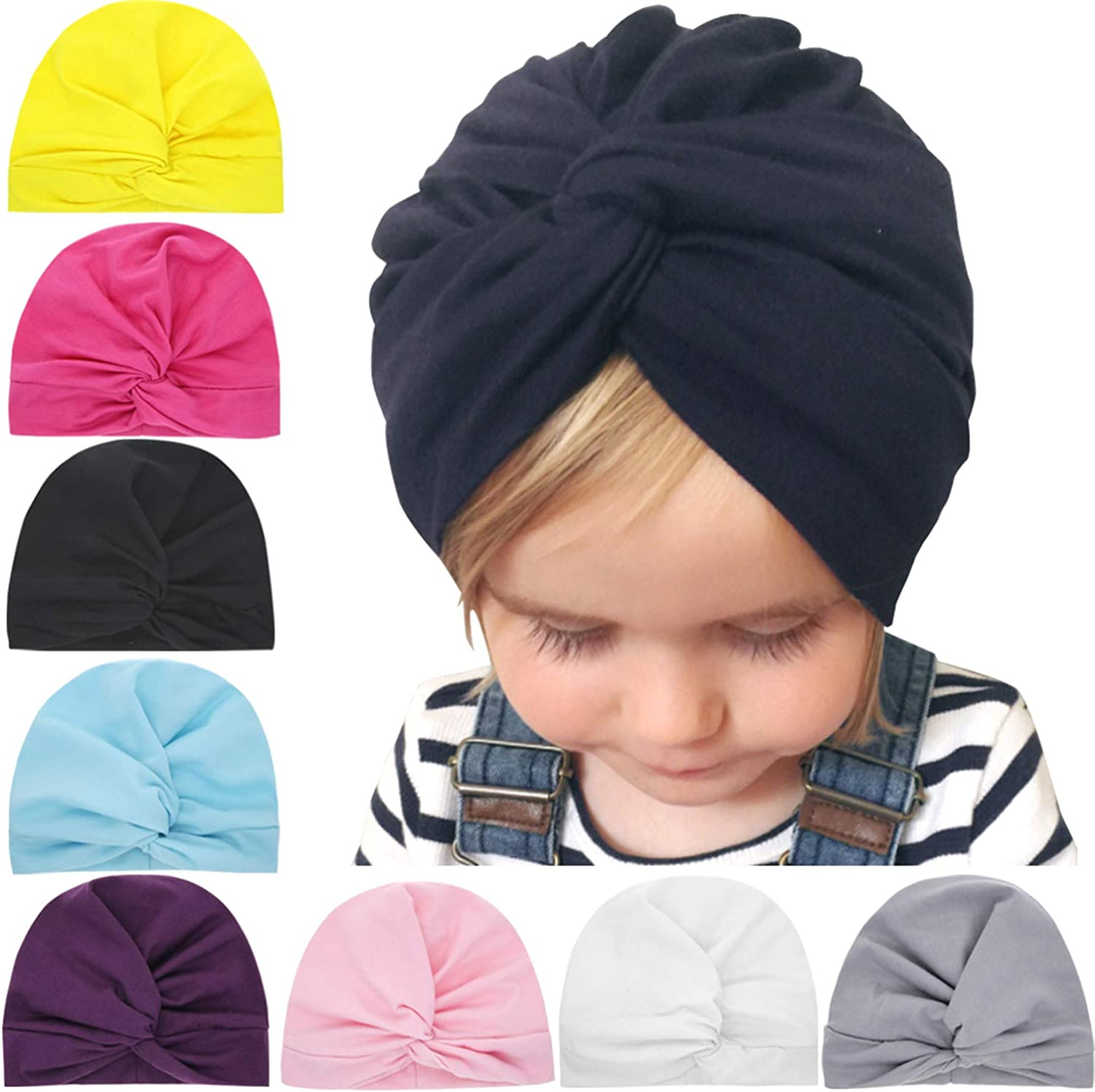 ZOONAI Baby Cotton Cloth Hat Infant Toddler Turban Ear Hat Kids Head Cap