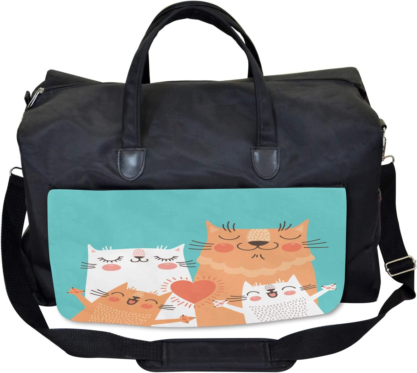 Cute Kitty Couple Happy Large Weekender Carry-on Ambesonne Funny Gym Bag
