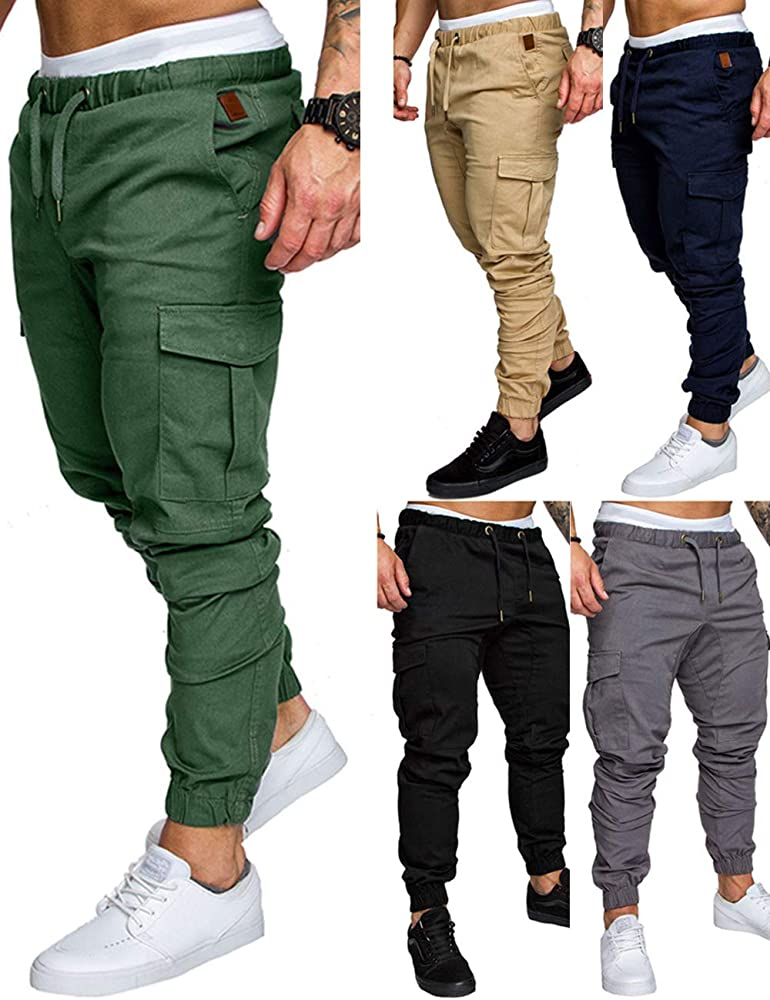 TTOOHHH Men Casual Loose Letter Print Drawstring Elastic Waist Running Pants Trousers Sweatpants Gray