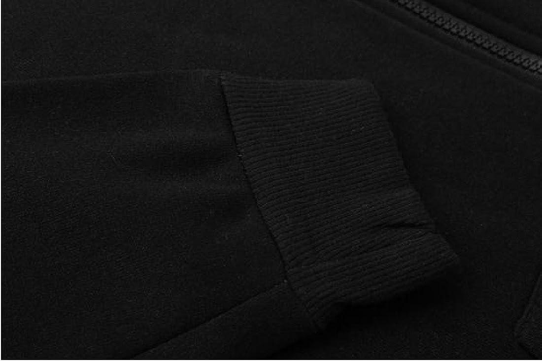 Ruhua Mens Plus Size Hooded Hoodie Drawstring Zipper Warm Outerwear