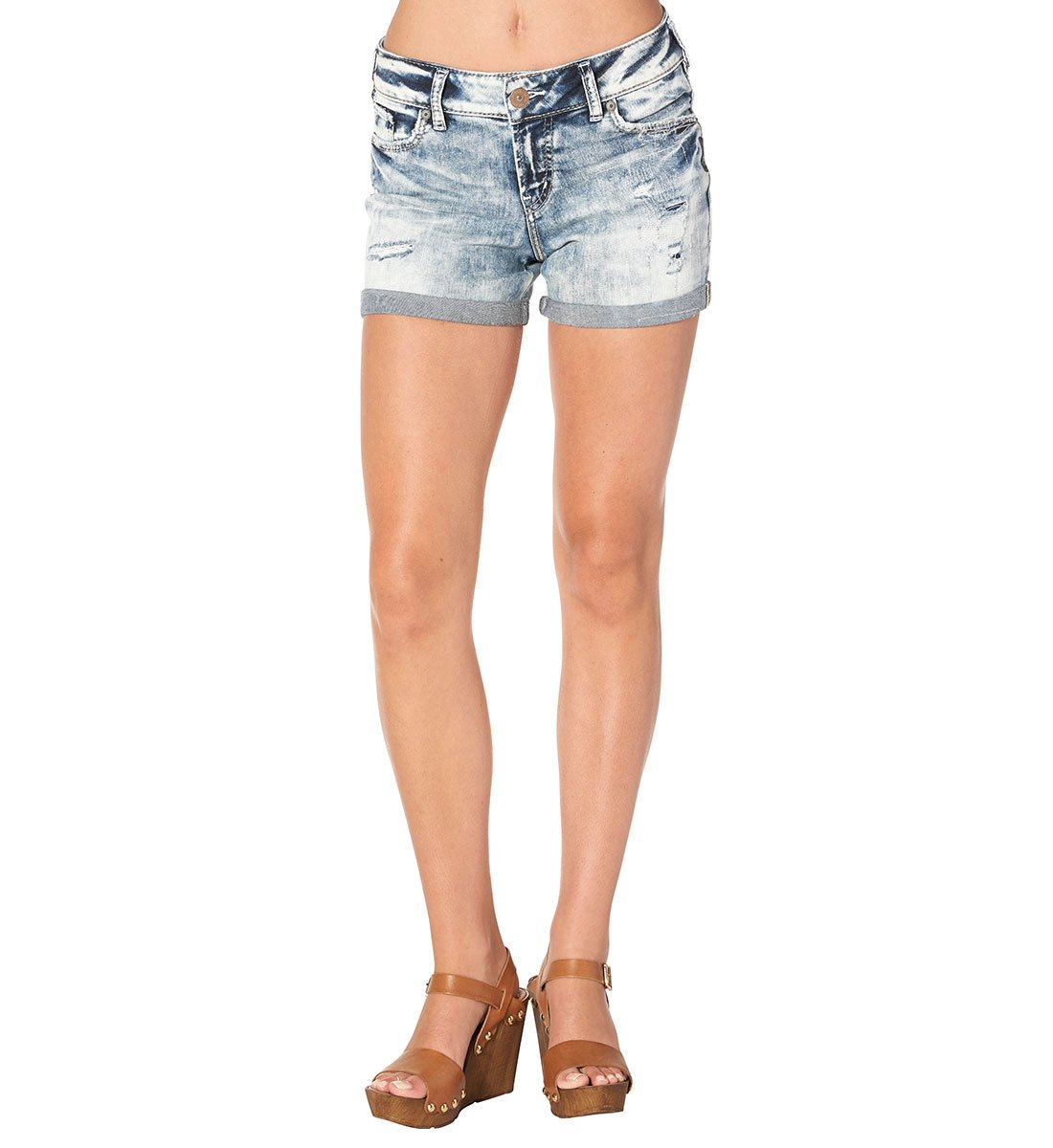 Silver Jeans Women's Suki Perfectly Curvy-Fit Mid-Rise Light Wash Short, Light Marble Wash, 25