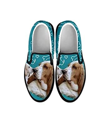 Basset Hound Print Slip Ons For Women (6)