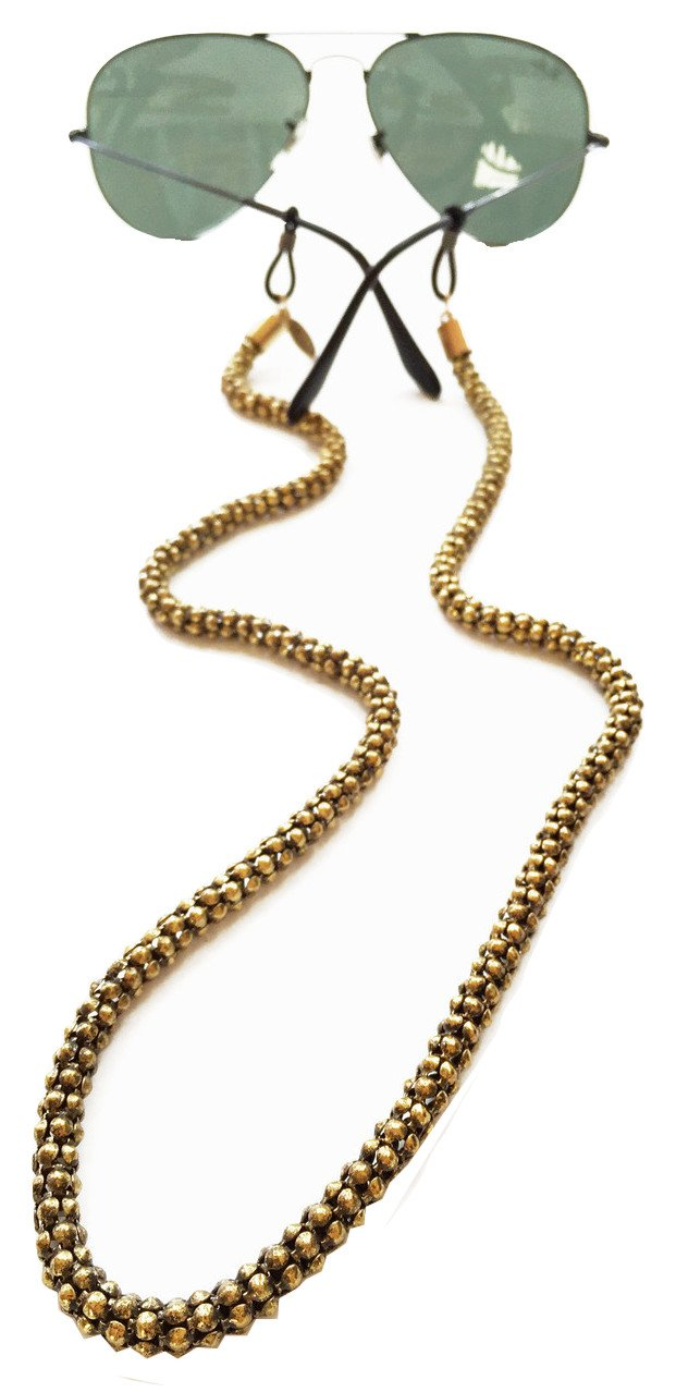 Sintillia Gold 'n Glowing Chain Sunglass Strap, Glasses Chain, Eyeglass Cord, Skinny (6mm) with Black Attachments by Sintillia