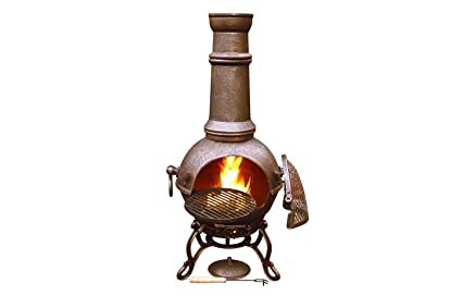 Amazon.com: Toledo Large Cast Iron Chiminea with Bronze ...