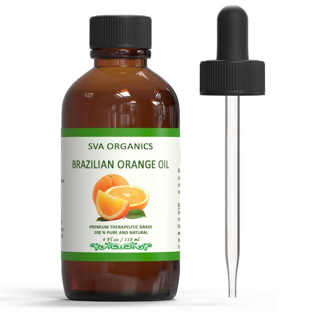SVA ORGANICS 100% PURE BRAZILIAN ORANGE ESSENTIAL OIL 4 OZ (118 ML) THERAPEUTIC GRADE