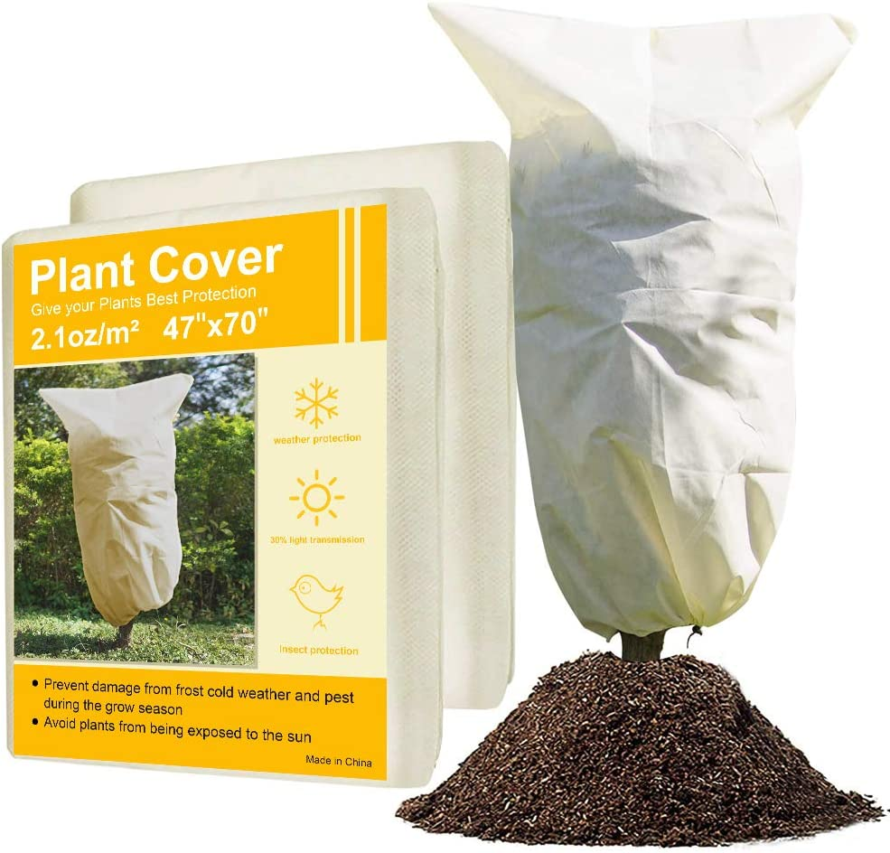 """2 Pack Plant Freeze Protection Covers, Upgraded Rose Bush Covers for Winter,Frost Protection Plant Cover with Drawstring for Plants Trees Shrub (47""""×70"""")"""