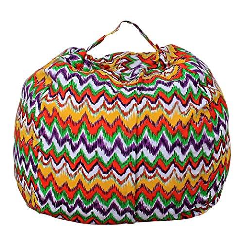 Storage Bean Bag ,Cywulin Kids Stuffed Animal Plush Toy Soft Stripe Fabric Chair Pouch (D)