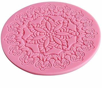 iTemer 1 pieza Moldes para Reposteria Bizcochos Chocolate Jabones Pastel Hornear Tartas Fondant Encaje Flores Rosa Silicona 12.5cm*0.3cm: Amazon.es: Hogar