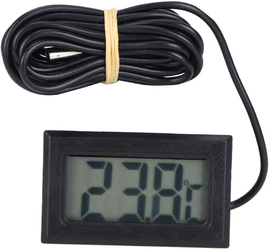 ViaGasaFamido Termómetro de Acuario, termómetro Digital para pecera con Pantalla LCD Sensor de Temperatura de Ventosa para terrario de Agua de Acuario Sumergible