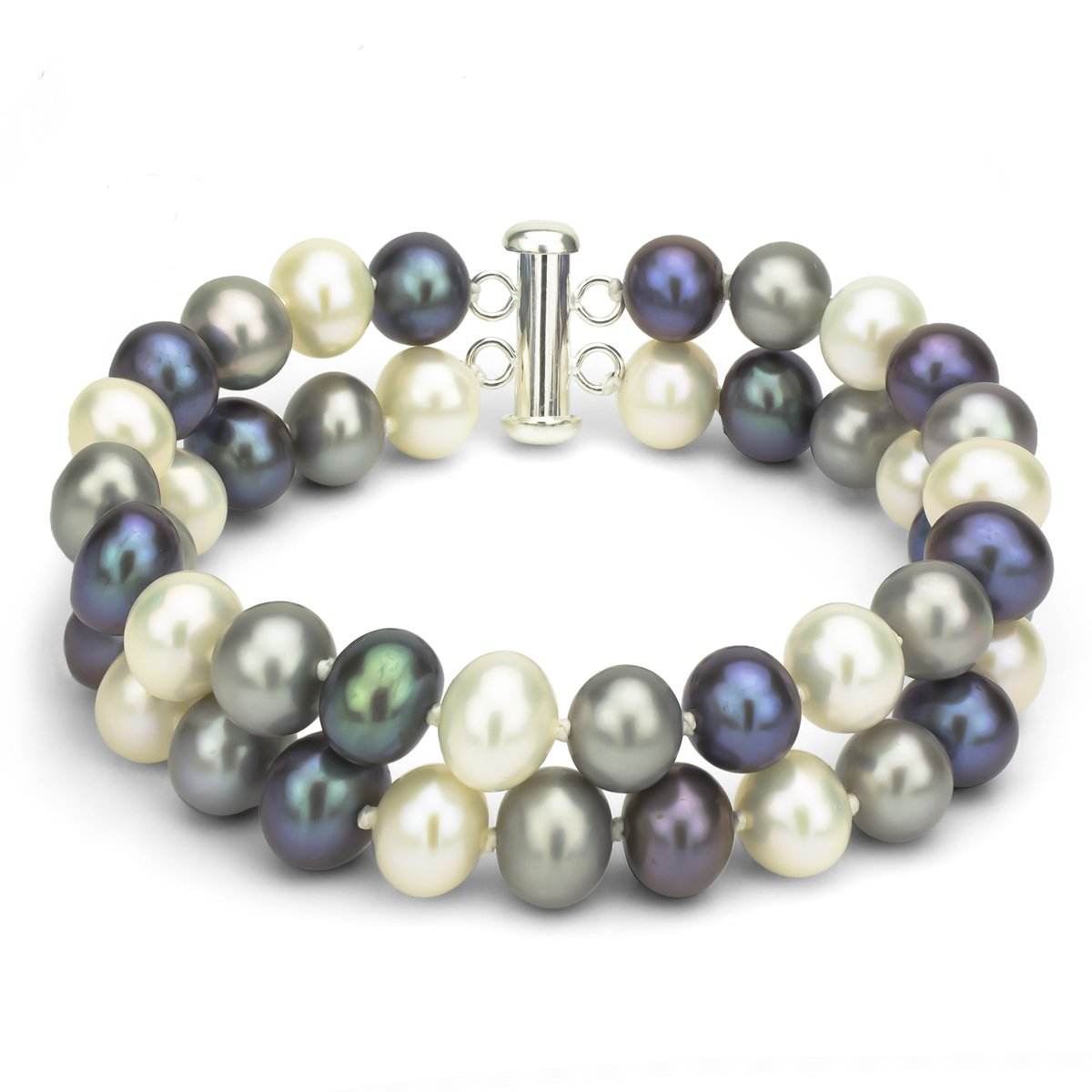Sterling Silver 2-rows 8-8.5mm Dyed Multi-dark Freshwater Cultured Pearl Tube Clasp Bracelet, 8.5''
