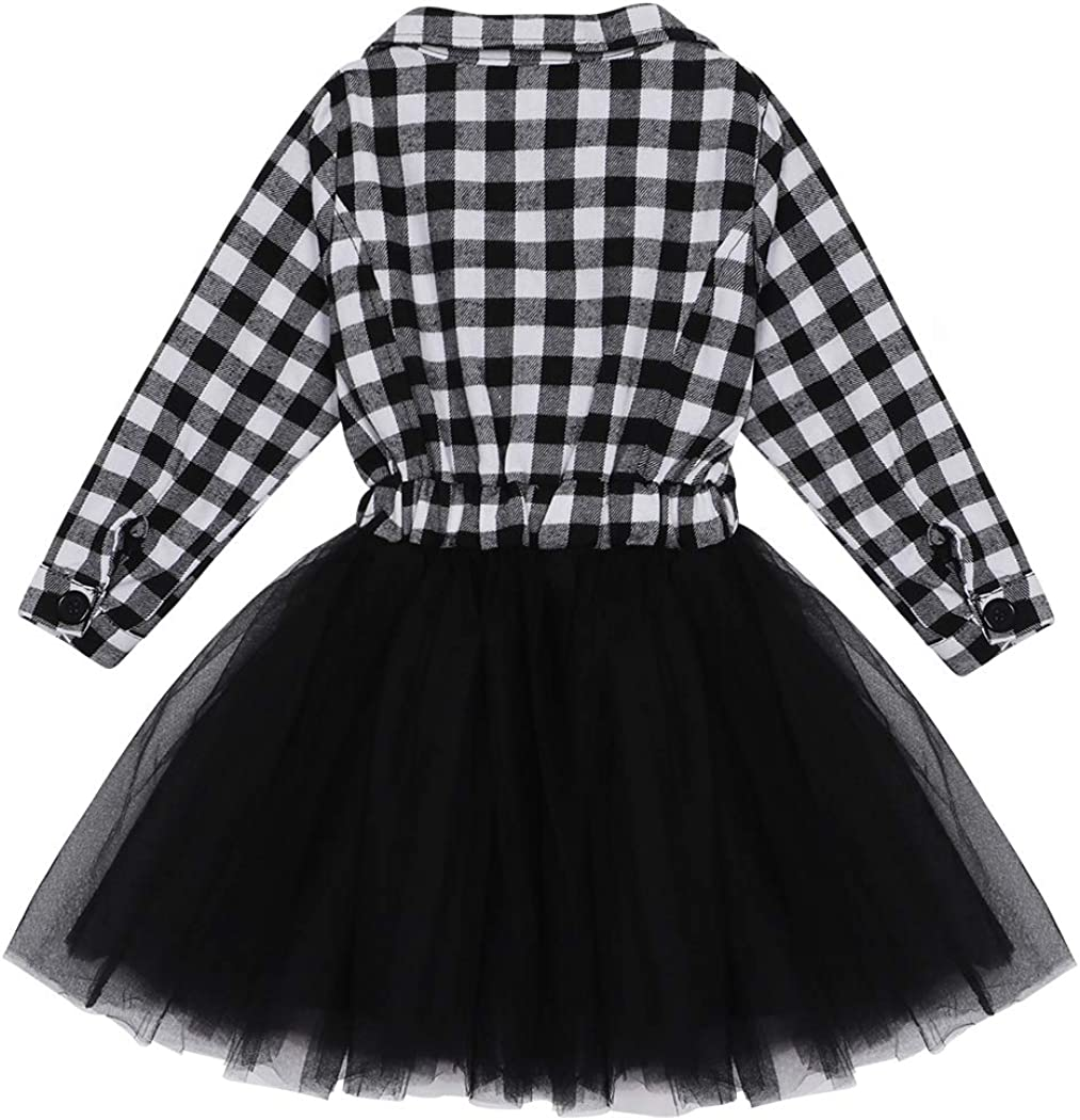 WonderBabe Little Girl Clothes White and Black Plaid Tutu Skirt Kids Party Princess Formal Outfit Dresses