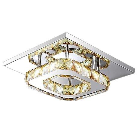 WYBAN 12W Cuadrado LED Lámpara de techo de cristal moderno de techo de luz para dormitorio, sala de estar y pasillo (12W Blanco Cálido)