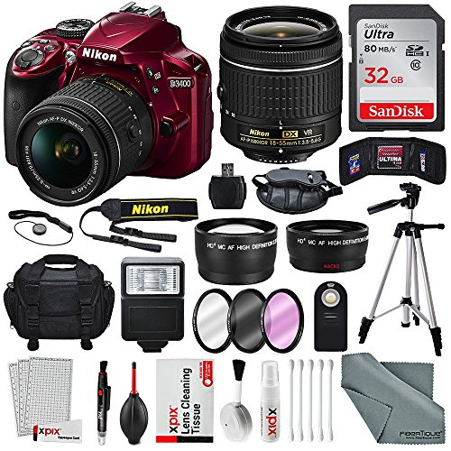 (Nikon D3400 with 18-55mm f/3.5-5.6G VR Lens, 32 GB SDHC and Basic Bundle)