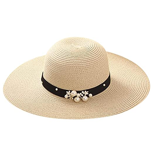 1b850b3b08d Yucode Women Fisherman s Cap Handmade Pearl Holiday Cap Leisure Sun Straw  Cap Beige at Amazon Women s Clothing store