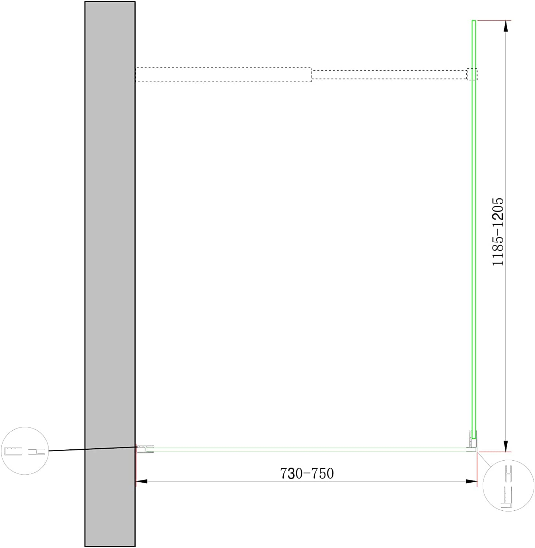 Parete doccia Walk-in Angolare Doppio Vetro 8 mm Reversibile 78-80 x 118,5-120,5 H 200 cm