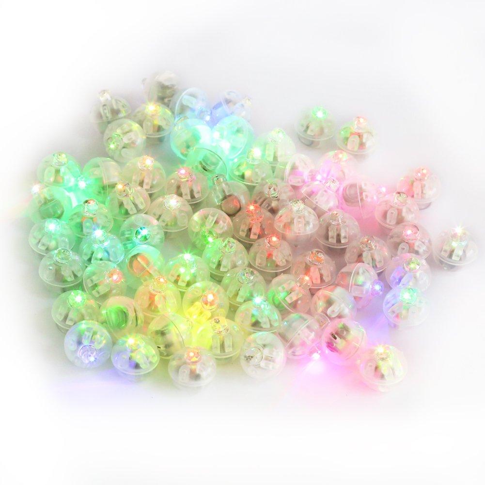 Accmor 100pcs LED Mini Round Ball Balloon Light, Flash Ball Lights for Paper Lantern Balloon Halloween Party Wedding Decoration(Multicolor)